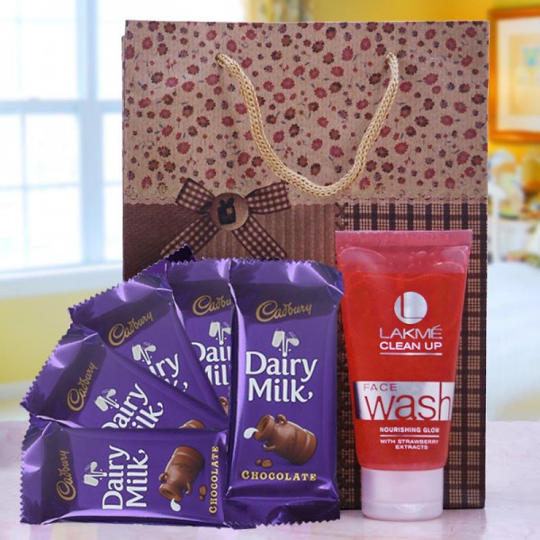 Dairy Milk Chocolate with Bag and Face Wash