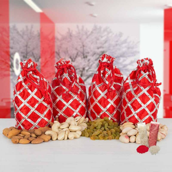 Nuts in Red Potli