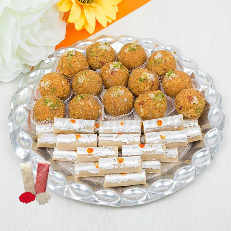 Sweets in Silver Thali