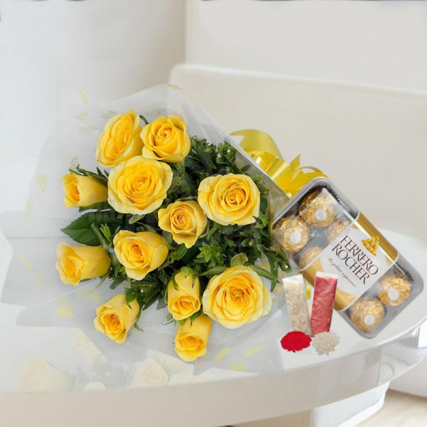 Yellow Roses with Chocolates