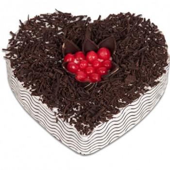 Half Kg Black Forest Heart Shape Cake