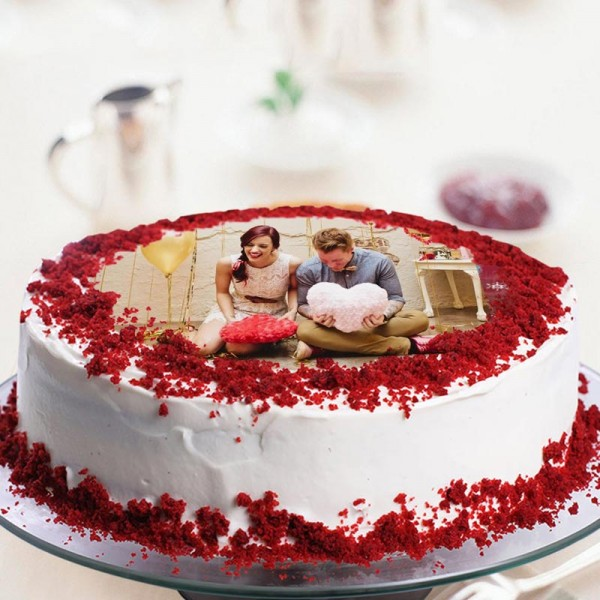 One Kg Red Velvet Photo Printed Cream Cake