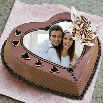 One Kg Heart Shape Coffee Photo Printed Cream Cake