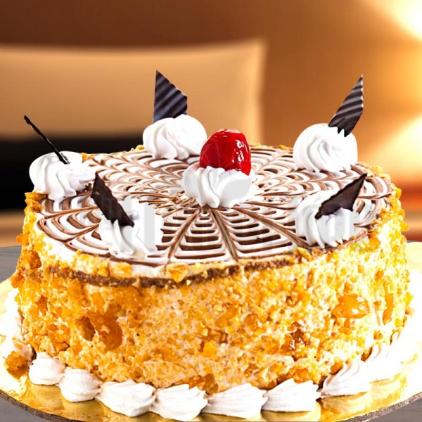 Half Kg Eggless Butterscotch Cake For Mom