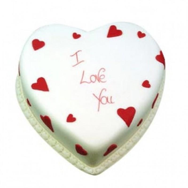 1 Kg Eggless Heart Shape Vanilla Cake