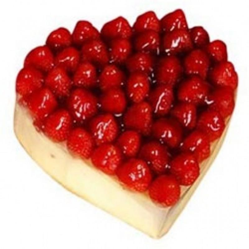 Eggless Heart Shape Strawberry Cake