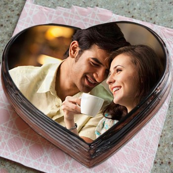 One Kg Personalised Photo Heart Shape Chocolate Cake