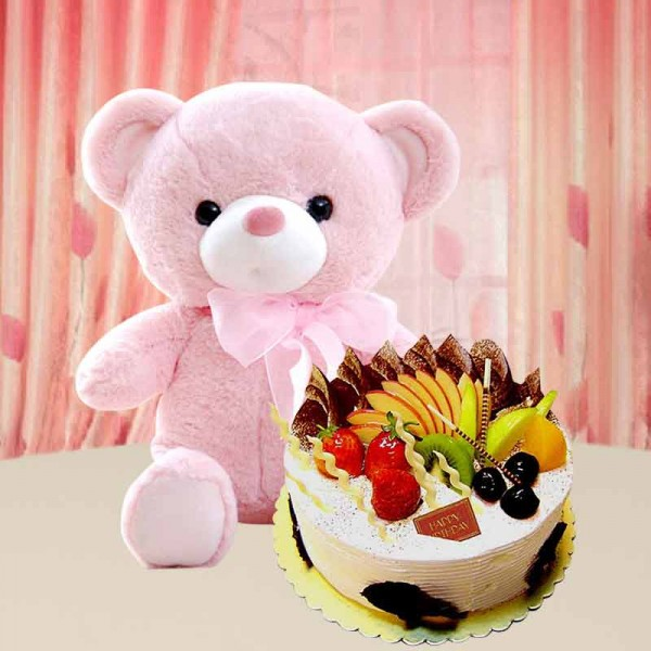 1 Kg Fresh Fruit Cake with Teddy Bear (6 inches)