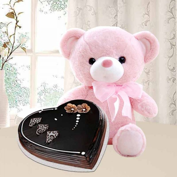 1 Kg Heart Shape Chocolate Cake with Teddy Bear (6 inches)