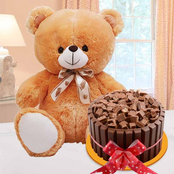 1 Kg KitKat Cake with Teddy Bear (12 inches)