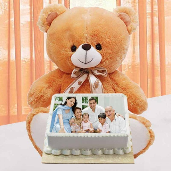 1 Kg Square Pineapple Photo Cake with Teddy Bear (12 inches)