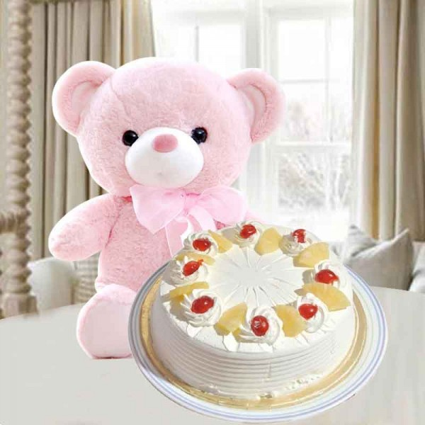 Half Kg Pineapple Cake with Teddy Bear (6 inches)
