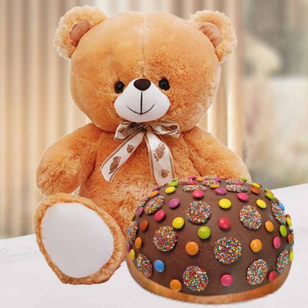 1 Kg Rainbow Gems Chocolate Cake with Teddy Bear (12 inches)