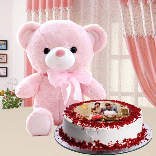 1 Kg Red Velvet Photo Cake with Teddy Bear (6 inches)