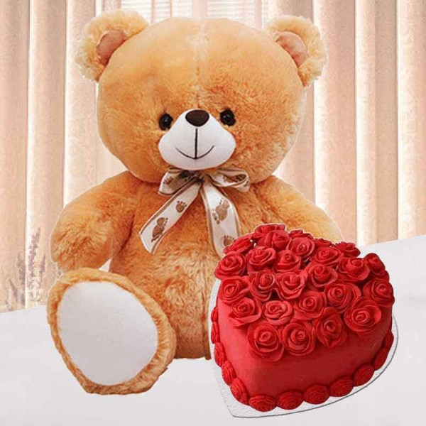 1 Kg Heart Shape Red Velvet Cake with Teddy Bear (12 inches)