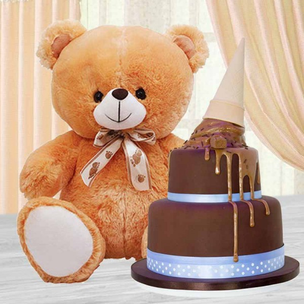 2 Rier Chocolate Cake with Teddy Bear (12 inches)