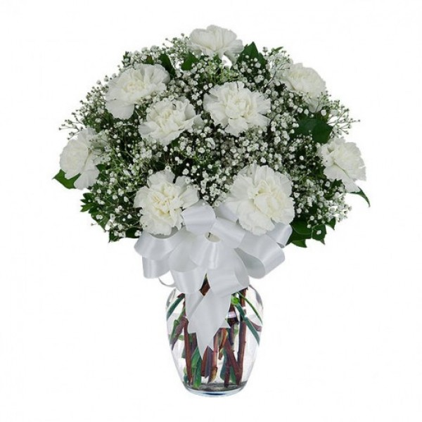 Nine White Carnations