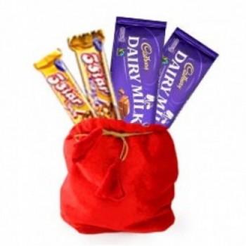 Chocolate Potli of 5 Star Chocolates (22 gm) and Two Cadbury Dairy Milk Chocolates (25.3 gm)