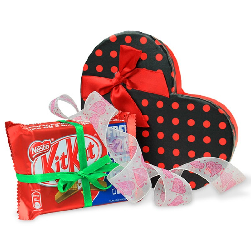Heart Chocolate Box and Kitkat Hamper