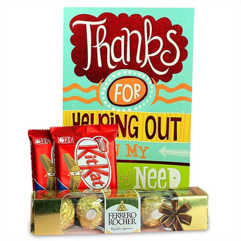 Thank You Card and Delicious Chocolates Hamper