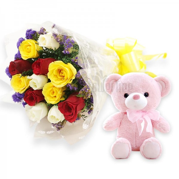 12 Assorted Roses with Teddy Bear (6 inches)