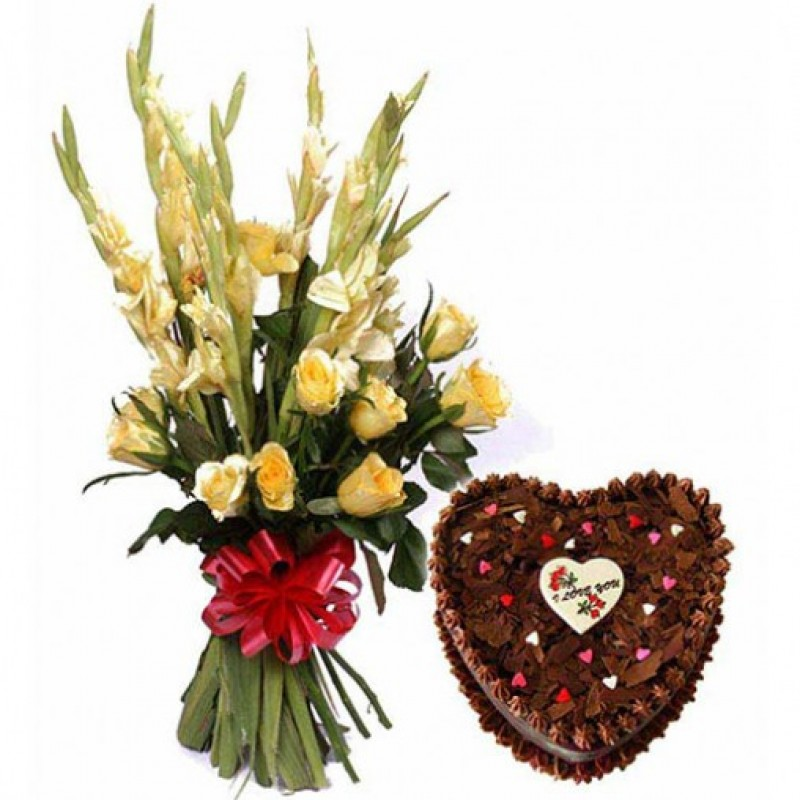 Glads With 1 Kg Heart Shaped Cake