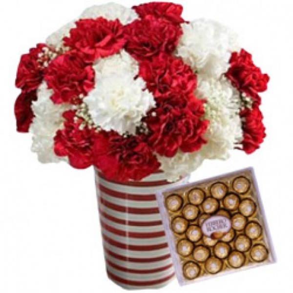 24 Carnations RW with Ferrero Rocher
