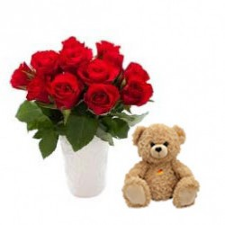 Send Flowers with Teddy Online