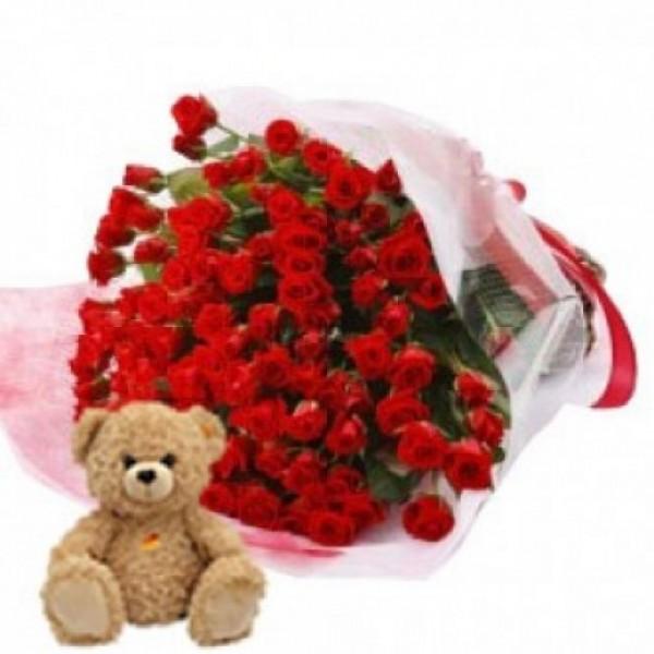 69 Red Roses with 1 Teddy Bear (6 inches) in a Paper Packing