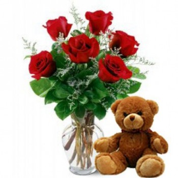 6 Red Roses with 1 Teddy Bear (12 inches) in a Glass Vase