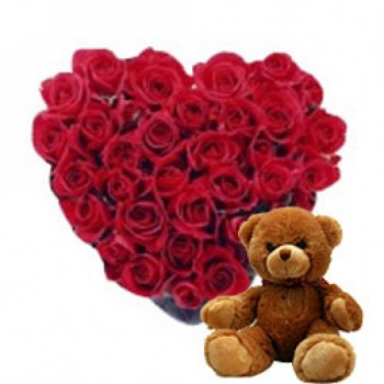 Heart-shaped arrangement of 40 Red Roses with Teddy Bear (6inches)