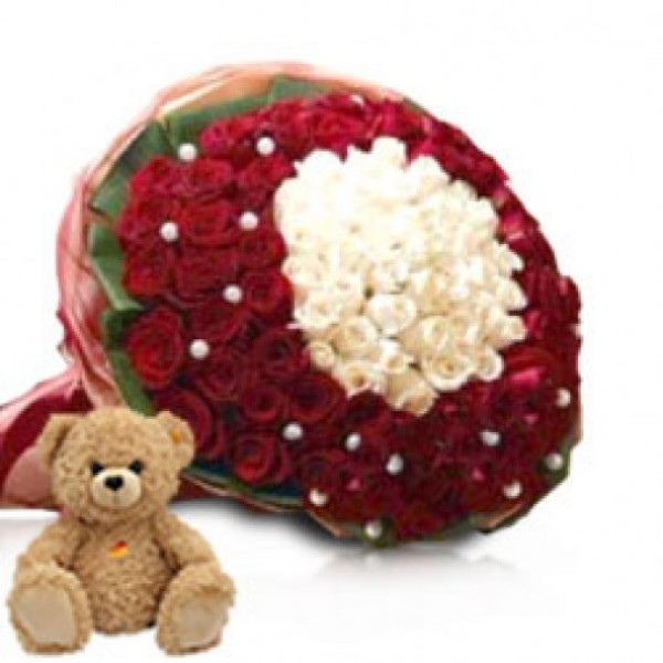 100 Roses (Red and White) with 1 Teddy Bear (10inches)