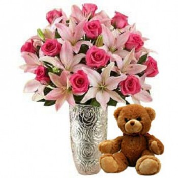 12 Pink Roses & 5 Asiatic Pink Lilies with 1 Teddy Bear (12 Inches)