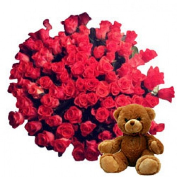 24 Red Roses with 1 Teddy Bear (6 Inches)