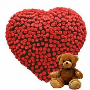 Heart-shaped arrangement of 200 Red Roses with Teddy Bear (12 inches)