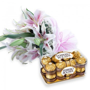 6 Oriental Lilies with A box of 16 pcs of Ferrero Rocher and Paper Packing
