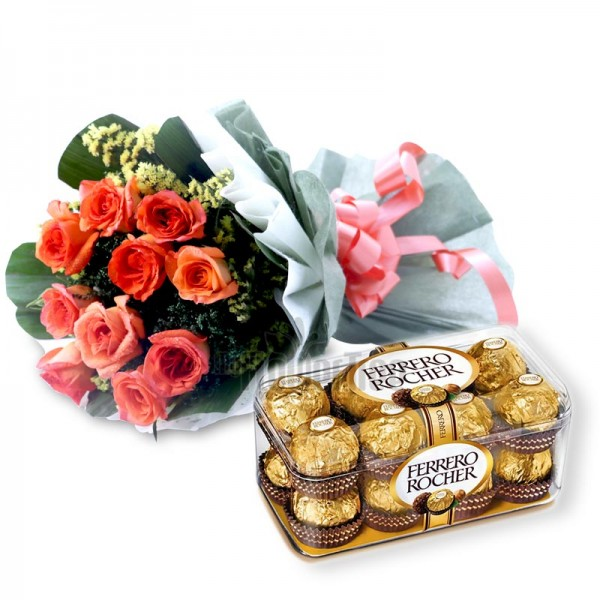 10 Orange Roses with A box of 16 pieces of Ferrero Rocher in Paper Packing