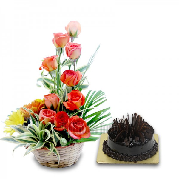 a Basket Arrangement of 10 Roses and 5 Gerberas and Half Kg Chocolate Truffle Cake