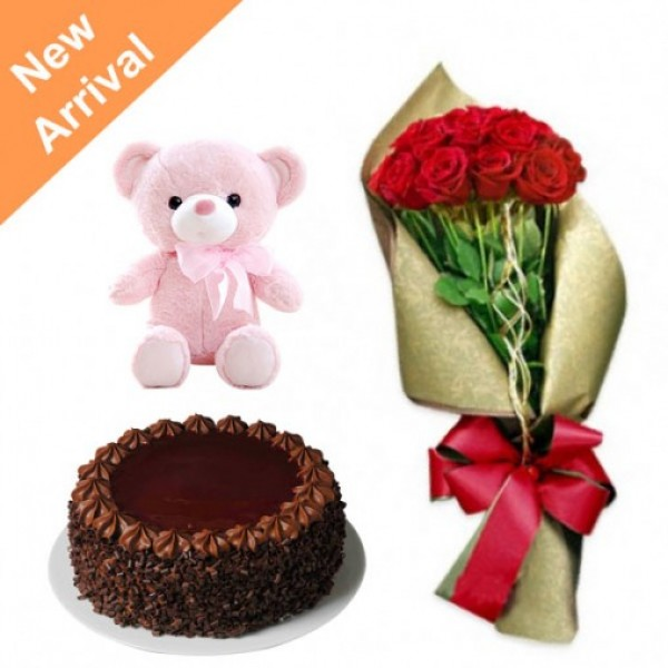 12 Red Roses in Paper Packing, Red Bow with Teddy ( 6 inch) and Chocolate Cake (Half Kg)