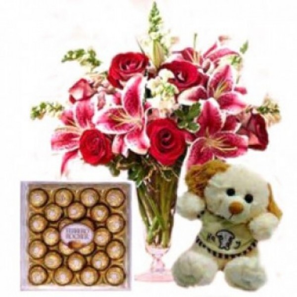 24 Pcs Ferrero Rocher and 10 Inches Teddy
