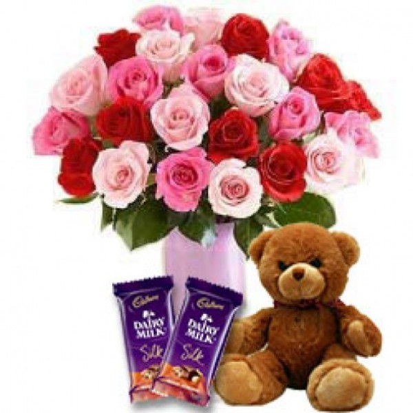 30 Assoreted Color Roses with 2 Diary Milk and 6 Inches tall Teddy