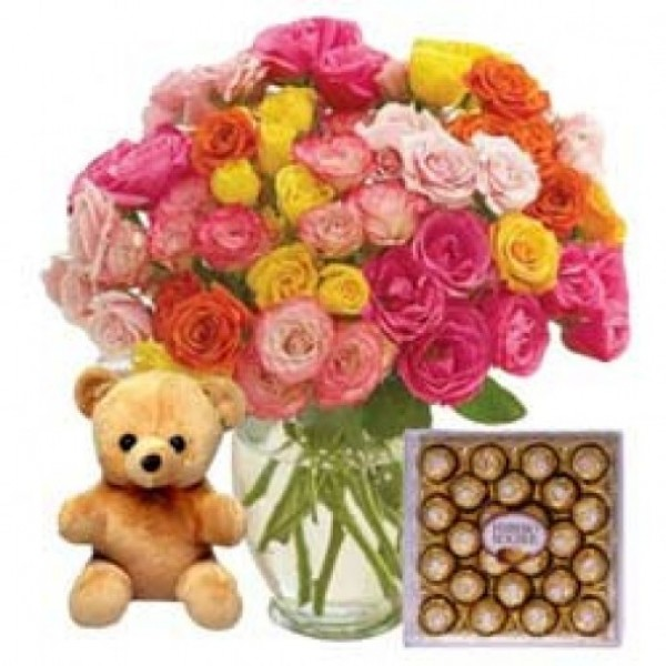 50 Mixed Roses Bouquet wrapped in a crape paper with a 6 inches Teddy and 24 Pcs Ferrero Rocher Chocolate Box