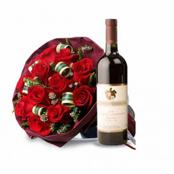 12 Red Roses with Bottle of Red Wine