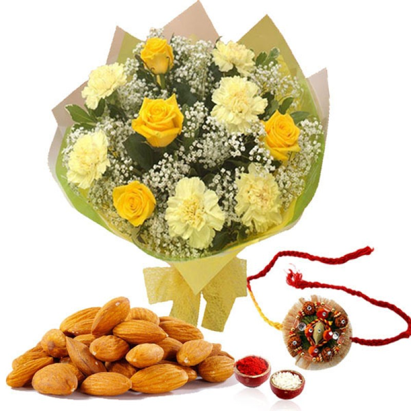 FLOWER WITH DRYFRUITS AND RAKHI