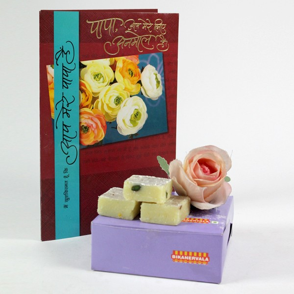 Plain Barfi n Greeting Card Hamper