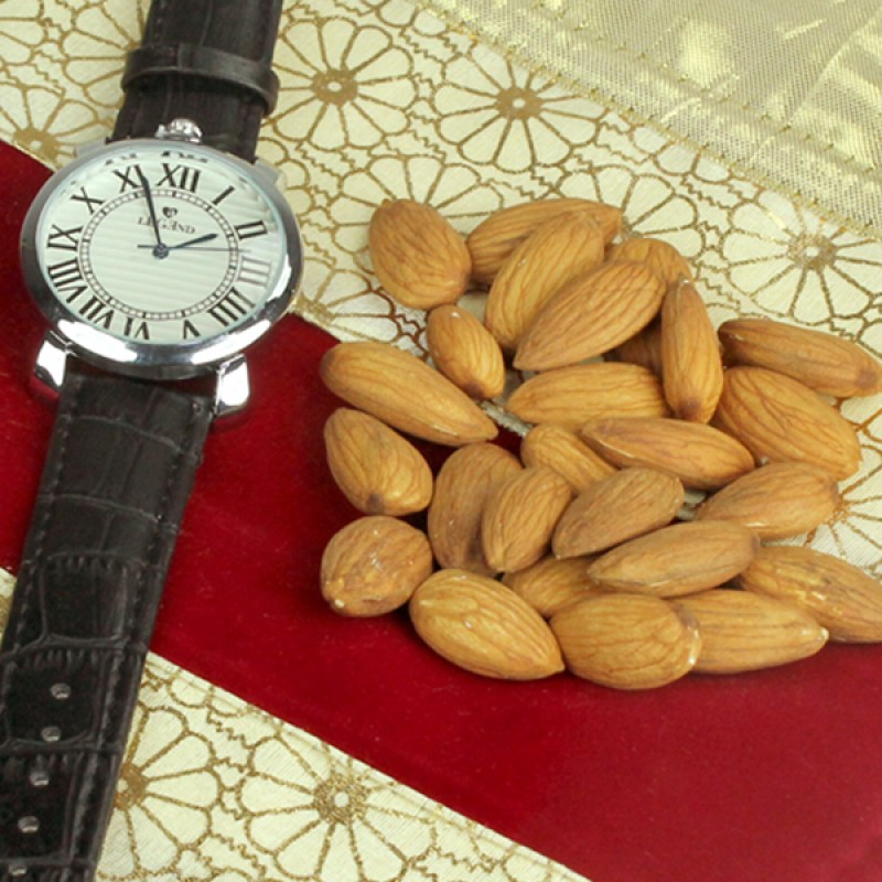 Wrist Watch n Almonds Hamper