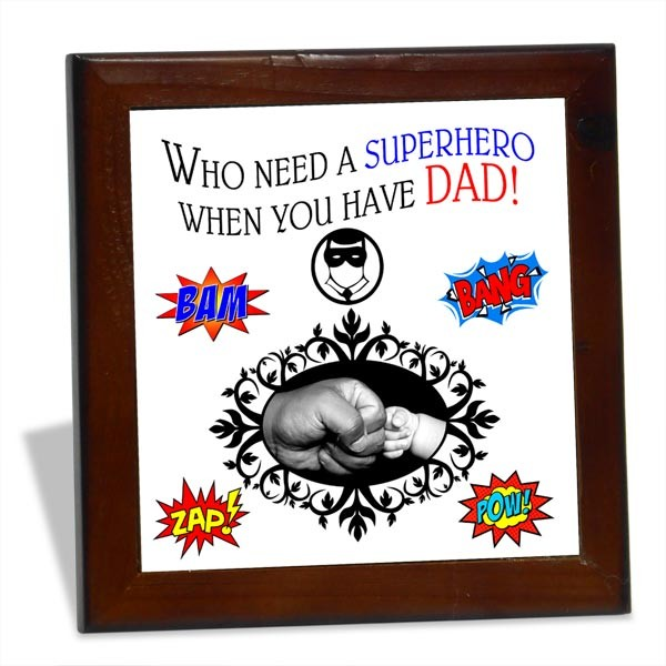 Superhero Dad personalized Tile Frame