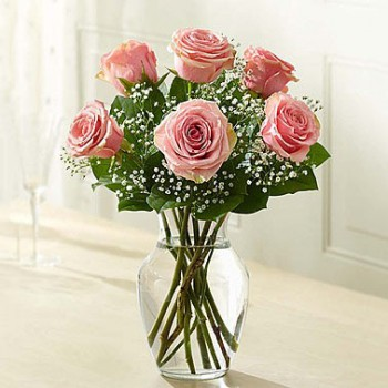 6 Pink Roses in a Glass Vase