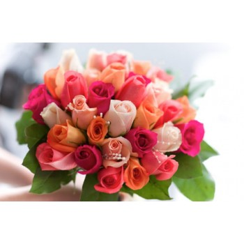24 Roses Bunch (8 Orange, 8 Dark Pink and 8 Light Pink)