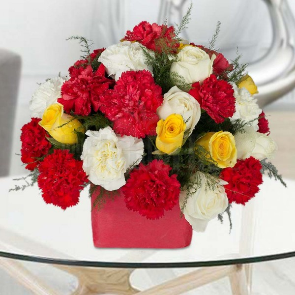18 Carnations (Red and White) and 12 Roses (Yellow and White) in A Glass Vase